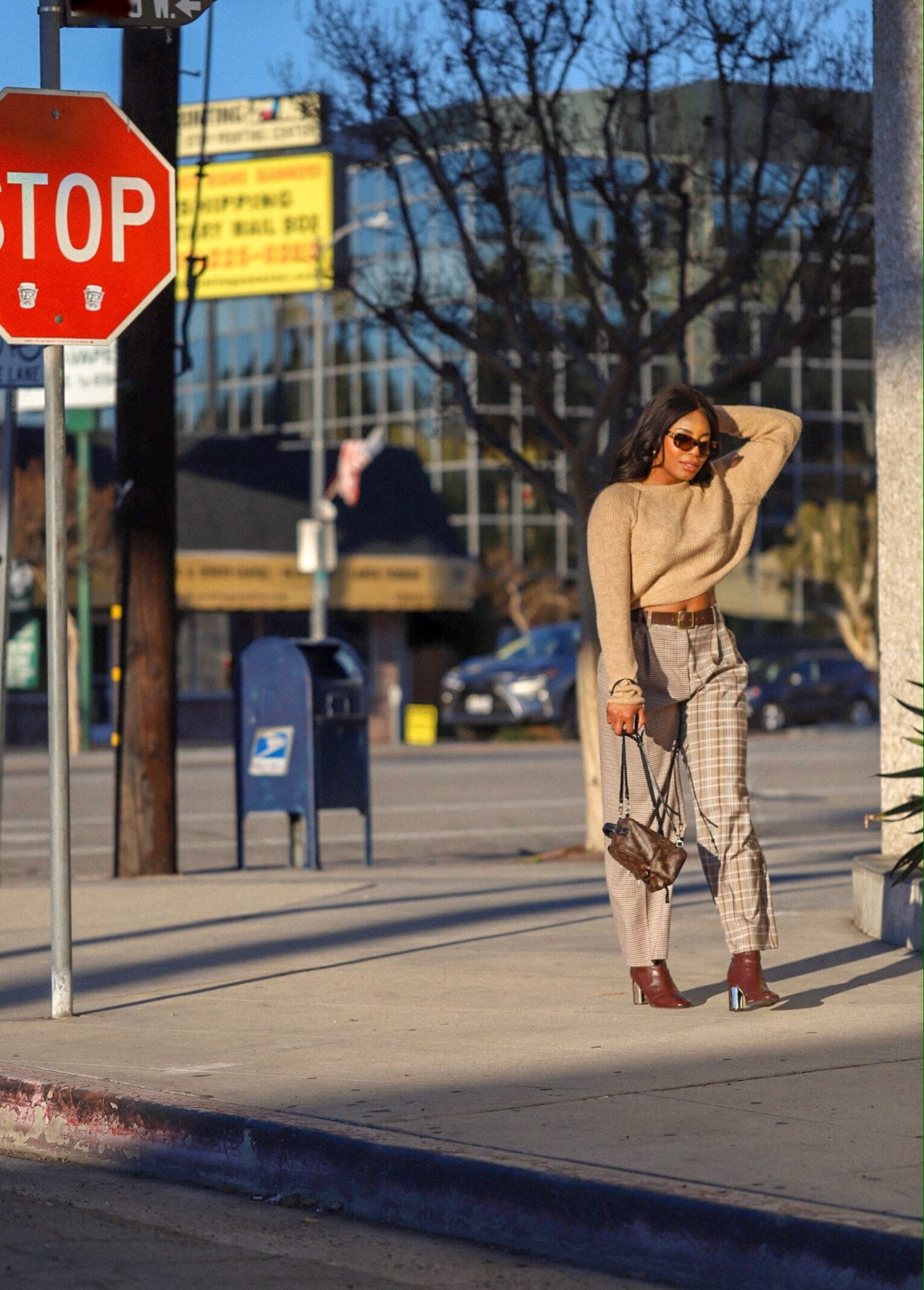 Street style photo of Kaye Bassey in a fall Nordstrom outfit.