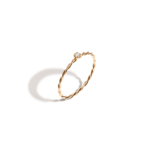 Au-Rate Twist Stackable Gold Ring with Diamond
