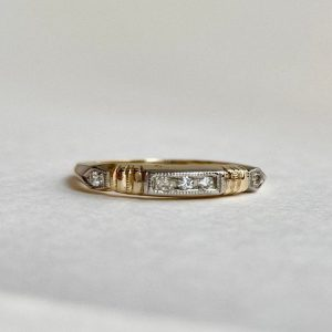 Etsy 14k White and Yellow Gold Diamond Stackable Ring