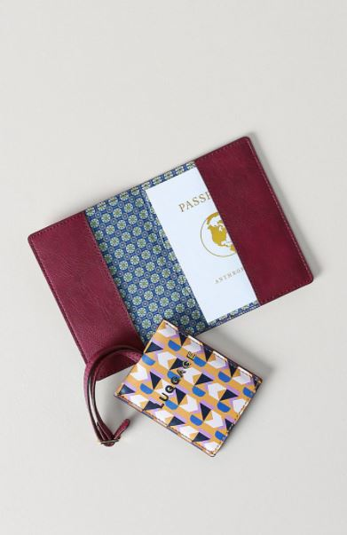 Anthropologie Voyage Passport Holder and Luggage Tag