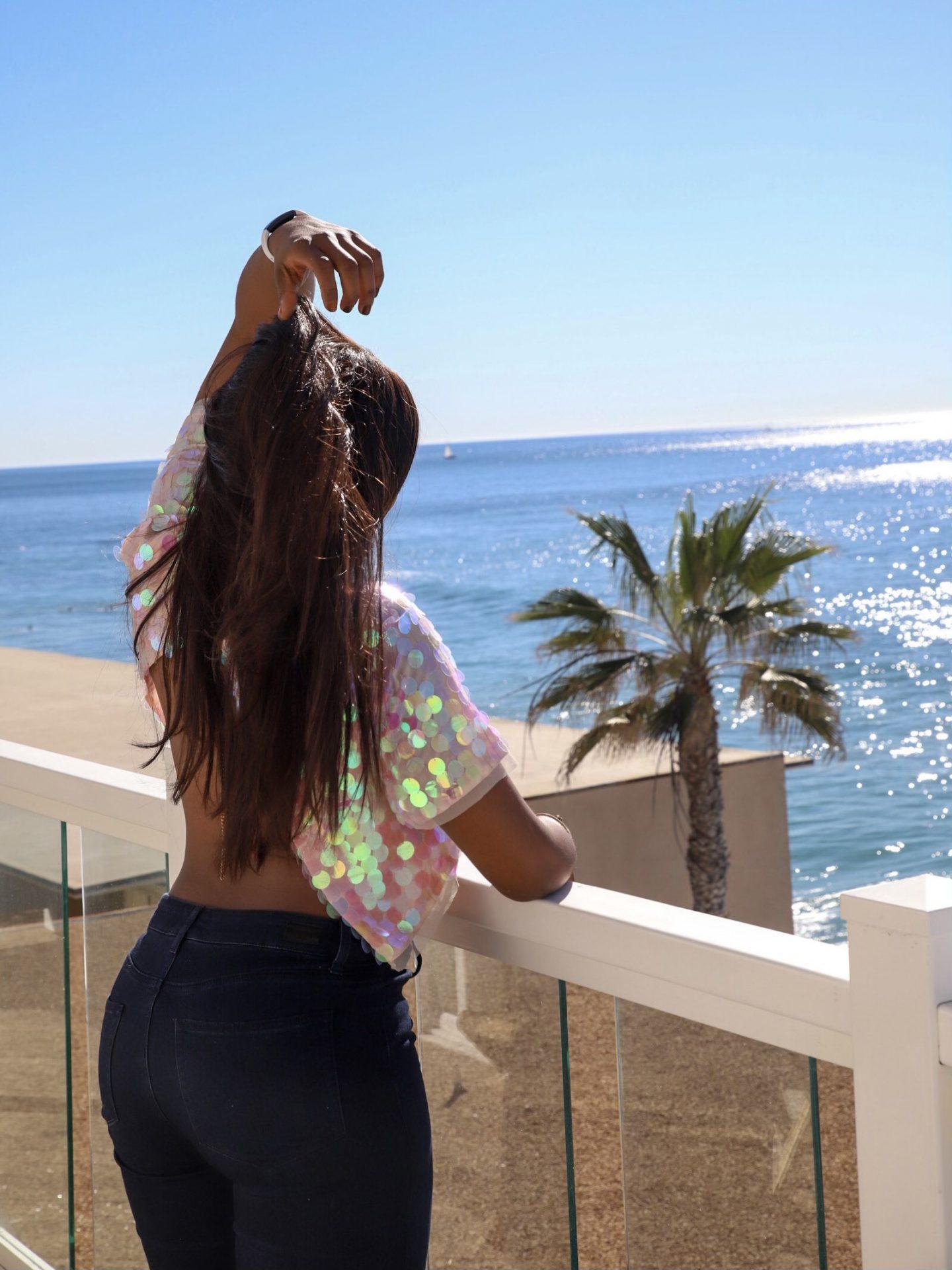 Paige Denim Openback Sequin Top Beach View
