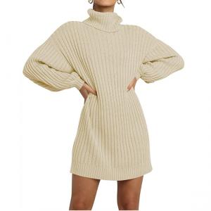 Amazon Pre-Fall Fashion Favorite: Women's turtleneck sweater dress in beige