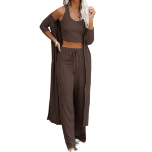 Amazon Pre-Fall Fashion Favorite: Chocolate brown lounge set with cardigan, crop tank and wide leg pant