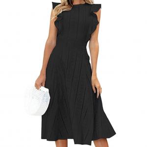 Amazon Pre-Fall Fashion: Women's Cap Sleeve Midi Dress in Black